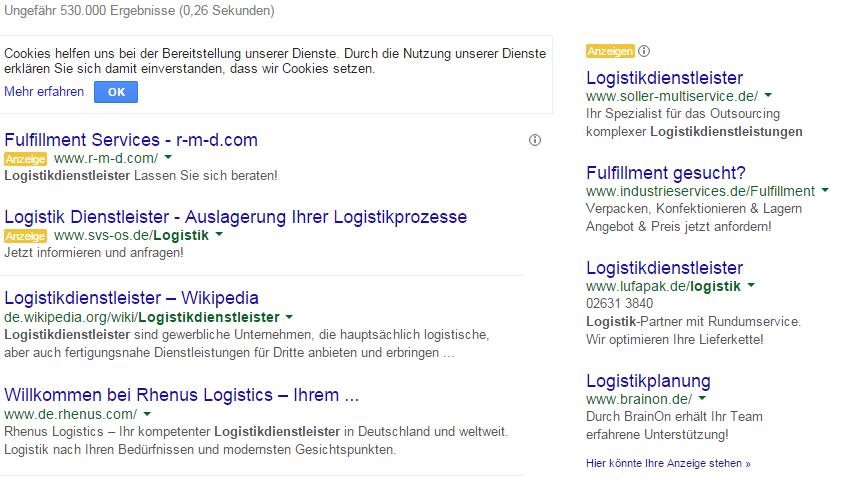 Logistikdienstleister Suche