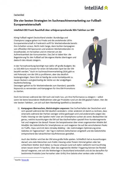 Fachartikel von intelliAd CEO Frank Rauchfuß über erfolgsversprechende SEA-Taktiken zur EM