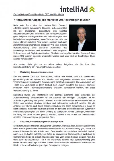 Fachartikel Frank Rauchfuß: Marketing Herausforderungen